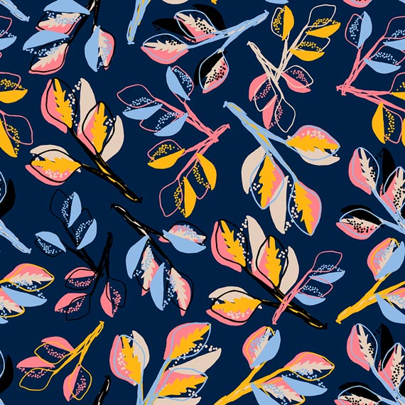 Pattern The Dignanis Blue Leaves